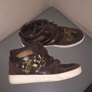 Michael Kors camouflage brown sneakers shoes hitop